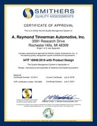 Certificate IATF 16949 2021 - Supporting ARCNA - Rochester (EN)