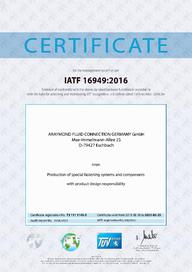 Certificate IATF 16949 - 2021 - AR Fluid Connection Germany (EN)