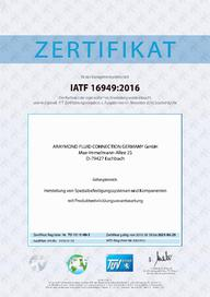 Certificate IATF 16949 - 2021 - AR Fluid Connection Germany (DE)