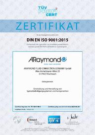 Certificate ISO 9001 - 2021 - AR Fluid Connection Germany